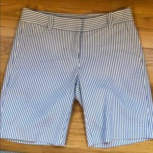 J Crew blue/white seersucker shorts